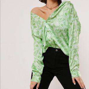 Paisley Green Oversized Festival Shirt
